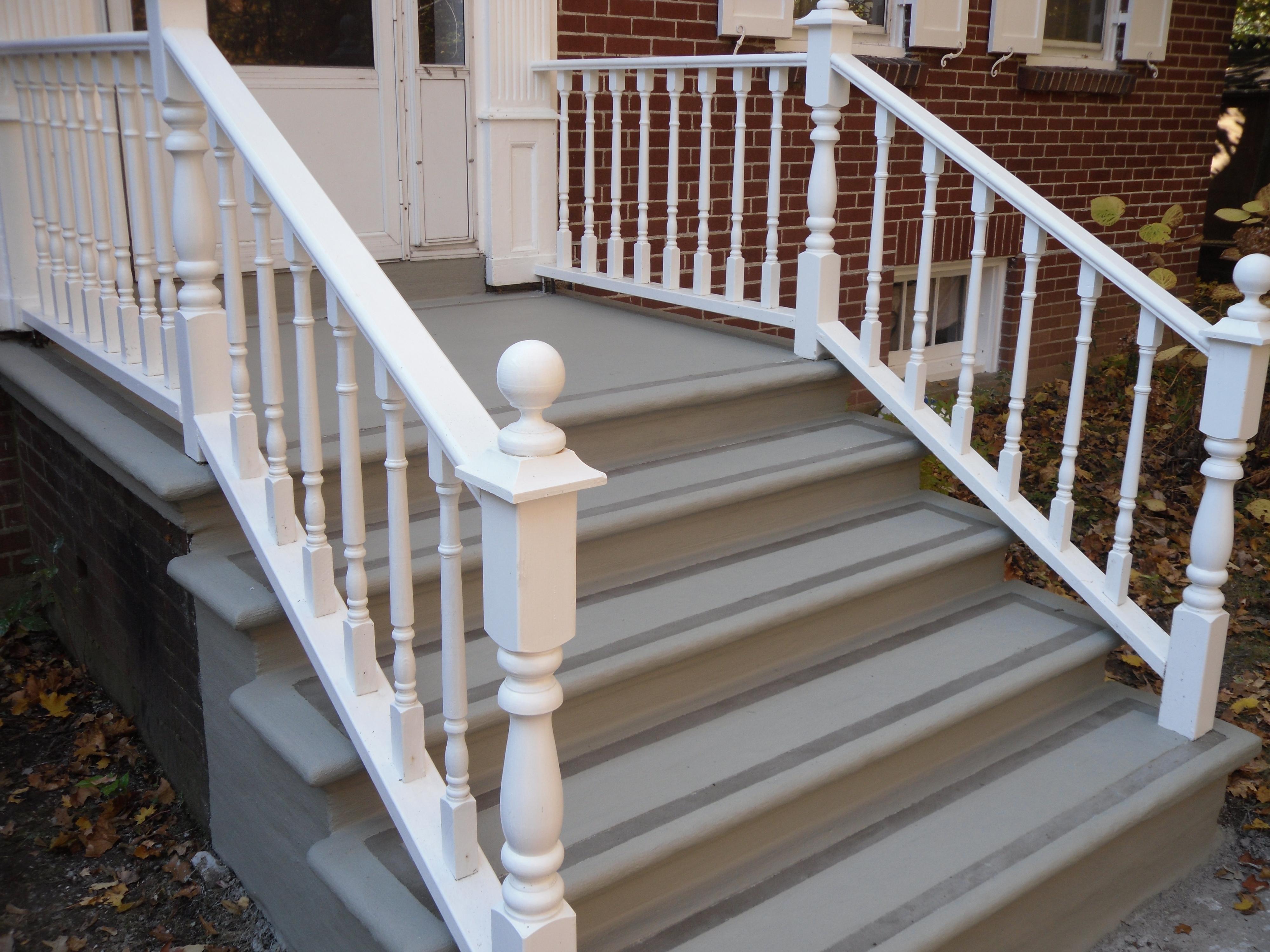 Stair resurfacing with borders tybo concrete coatings - Resurfacing exterior concrete stairs ...